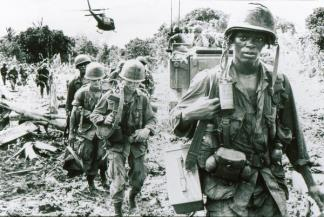 A rifle squad of the 173rd Airborne on a search and destroy mission in Phuoc Tuy province (III Corps), late in 1966.