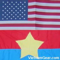 The flags of the United States of America and the Viet Cong.