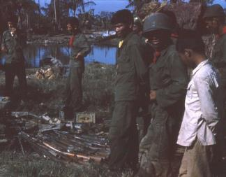 ARVN Rangers show off a haul of VC weapons captured during an operation near Soc Trang in the Mekong Delta.