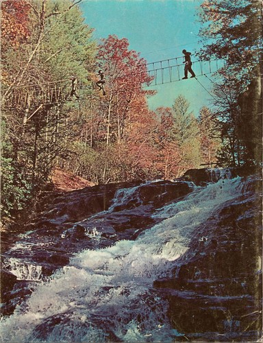The back cover of the April 1968 edition of Army Digest featured a scene of Rangers crossing a rope bridge in the Blue Ridge mountains of northern Georgia.
