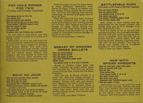 The Charlie Ration Cookbook contained numerous recipes for meals that could be made using C-Rations.