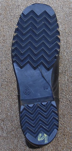 The DMS all-leather combat boot had a chevron pattern tread.