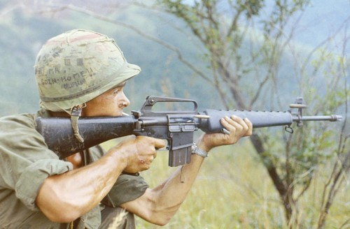 A rifleman with the 2nd Battalion, 505th Infantry of the 101st Airborne fires his M16A1 on full auto during Operation Cook.