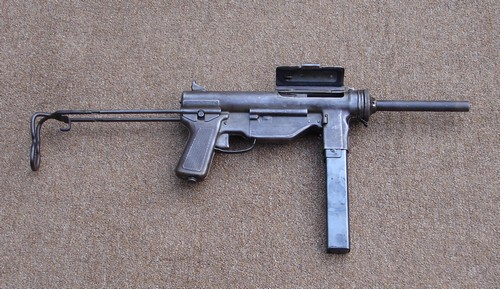 The M3A1 Submachine Gun resembled a mechanic's grease gun and was made entirely of steel.