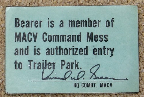 Rear of the wallet sized MACV Officers' Mess pass