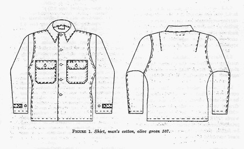 The Utility Shirt produced under Military Specification MIL-S-3001E (12 April 1963) featured clip cornered pocket flaps, adjustable sleeve tabs and back darts.