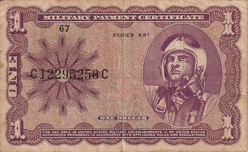 Front of the 681 series 1-Dollar Military Payment Certficate.