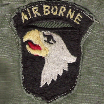 "Locally made 101st Airborne (""The Screaming Eagles"") shoulder sleeve insignia."