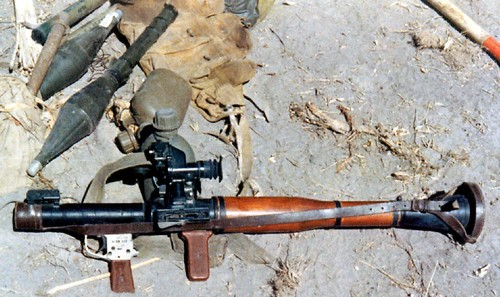 The RPG-7 Antitank Grenade Launcher featured a wooden heat shield and an optical sight.