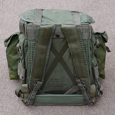 The rucksack's metal frame can been seen between the two shoulder straps.