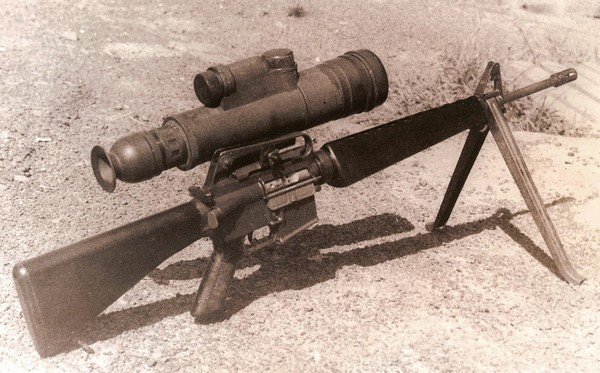M16A1 Rifle with AN/PVS-1 Night Vision Sight (1st Generation Starlight Scope) and M3 Bipod.