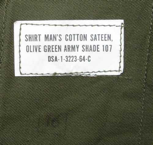 P63 Utility Shirt nomenclature and contract label.