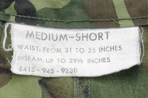 4th pattern Tropical Combat Trousers size label with waist size, inseam and FSN number.