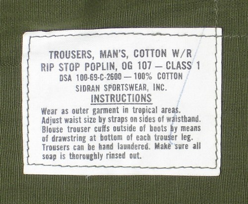 6th pattern Tropical Combat Trousers instruction and contract label.